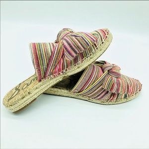 Sam Edelman striped woven large bow slides mules